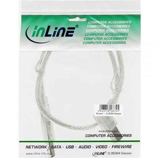 (€7,80*/1m) 0.50m InLine USB2.0 Anschlusskabel gewinkelt rechts USB A Stecker auf USB B Stecker Transparent