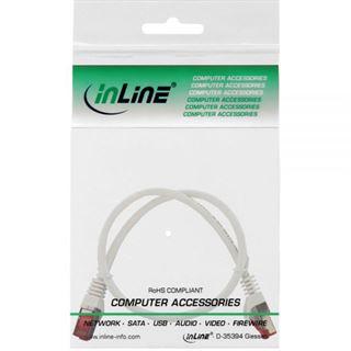 (€13,00*/1m) 0.30m InLine Cat. 6 Patchkabel S/FTP RJ45 Stecker auf RJ45 Stecker Weiß halogenfrei / Knickschutzelement / Rastnasenschutz