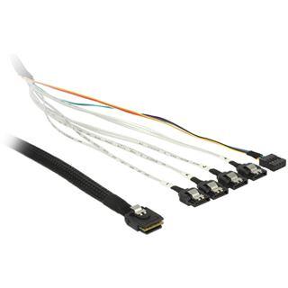 (€45,80*/1m) 0.50m Delock SAS Adapterkabel SFF-8087 Stecker auf 4xSATA Stecker Schwarz