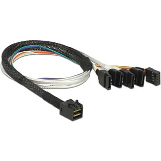 (€55,80*/1m) 0.50m Delock SAS Adapterkabel SFF-8643 Stecker auf 4xSATA Stecker Schwarz