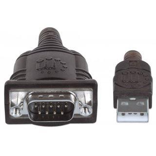 (€9,94*/1m) 1.80m Manhattan Adapter Anschlusskabel Seriell USB A Stecker auf RS232-Stecker Schwarz