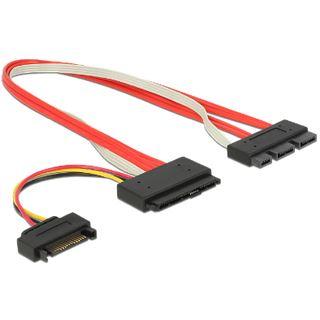 (€79,67*/1m) 0.30m Delock SATA Anschlusskabel SATA SATA Express 18 Pin Stecker auf SATA Stecker 22pol Rot
