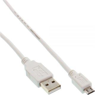 (€3,90*/1m) 1.00m InLine USB2.0 Anschlusskabel USB A Stecker auf USB mikroB Stecker Weiß
