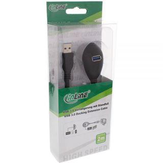 (€8,90*/1m) 1.00m InLine USB3.0 Verlängerungskabel USB A Stecker auf 2xUSB A Buchse Schwarz Standfuß