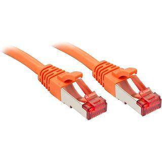 (€0,89*/1m) 10.00m Lindy Cat. 6 Patchkabel S/FTP PiMF RJ45 Stecker auf RJ45 Stecker Orange Klinkenschutz / vergoldet