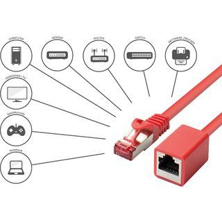 (€1,19*/1m) 10.00m Good Connections Cat. 6 Patchkabelverlängerung S/FTP PiMF RJ45 Stecker auf RJ45 Stecker Rot Rastnasenschutz / vergoldet