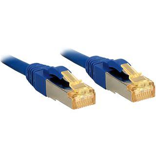(€2,38*/1m) 5.00m Lindy Cat. 7 Rohkabel Patchkabel S/FTP PiMF RJ45 Stecker auf RJ45 Stecker Blau Klinkenschutz / vergoldet