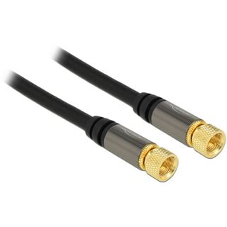 (€1,98*/1m) 5.00m Delock Antennenkabel F Stecker auf F Stecker Schwarz vergoldet