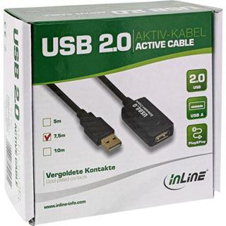 (€2,39*/1m) 7.50m InLine USB2.0 Verlängerungskabel USB A Stecker auf USB A Buchse Schwarz
