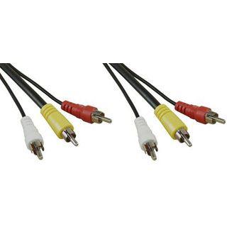(€3,90*/1m) 1.00m InLine Audio/Video Anschlusskabel 3xCinch Stecker auf 3xCinch Stecker Schwarz