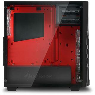 Sharkoon DG7000-G mit Sichtfenster aus Glas Midi Tower ohne Netzteil schwarz/rot