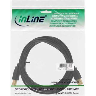 0.50m InLine USB2.0 Anschlusskabel USB A Stecker auf USB B Stecker Schwarz vergoldete Stecker