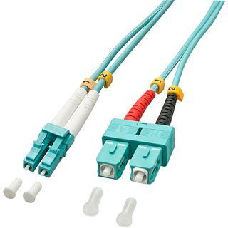 (€3,97*/1m) 3.00m Lindy LWL Duplex LWL Anschlusskabel 50/125 µm OM3 LC Stecker auf SC Stecker Türkis LSOH