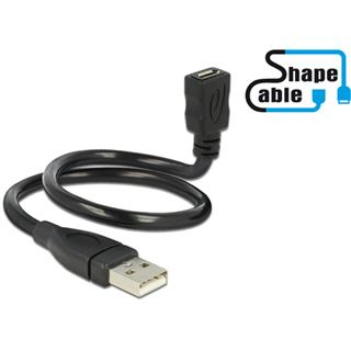 0.35m Delock USB2.0 Adapterkabel USB A Stecker auf USB mikroB Buchse Schwarz Shape / vergoldet