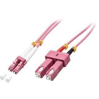 (€5,45*/1m) 2.00m Lindy LWL Duplex LWL Anschlusskabel 50/125 µm OM4 LC Stecker auf SC Stecker Violett halogenfrei