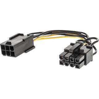 0.15m Lindy PCI Express Stromadapter 6pol PCIe Buchse auf 8pol PCIe Stecker Schwarz/Gelb