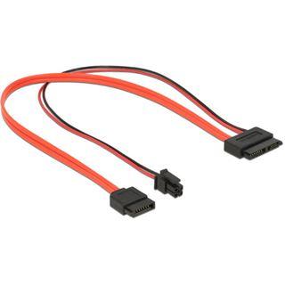 0.30m Delock SATA 6Gb/s Adapterkabel SATA Buchse + SATA Strom Stecker auf slim SATA Buchse Rot