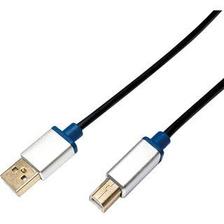 (€5,93*/1m) 1.50m LogiLink USB2.0 Anschlusskabel USB A Stecker auf USB B Stecker Schwarz Premium