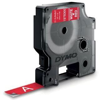 Dymo D1 Vinyl-Schriftband HP weiß/rot 12 mm x 3 m