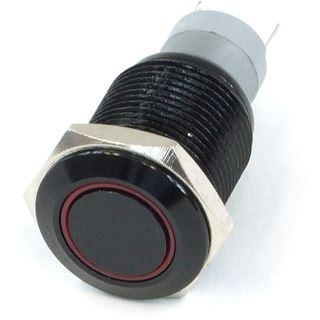Phobya Vandalismus Klingeltaster 16mm Aluminium schwarz, rot Ring beleuchtet 5pin
