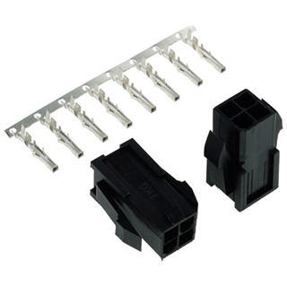 Phobya ATX Power Connector 4Pin Buchse inkl. 4 Pins - 2 Stück Black
