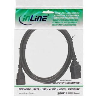 (€5,45*/1m) 2.00m InLine Stromadapterkabel C14 Buchse auf C19 Stecker Schwarz Polybag