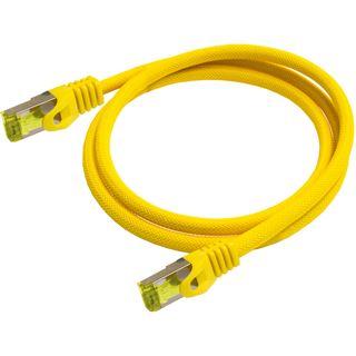 (€15,60*/1m) 0.25m PYTHON Cat. 7 Rohkabel Patchkabel S/FTP PiMF 500MHz RJ45 Stecker auf RJ45 Stecker Gelb LSOH / Nylongeflecht / Rastnasenschutz