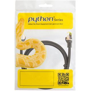(€1,29*/1m) 10.00m PYTHON Cat. 7 Rohkabel Patchkabel S/FTP PiMF 500MHz RJ45 Stecker auf RJ45 Stecker Schwarz LSOH / Nylongeflecht / Rastnasenschutz