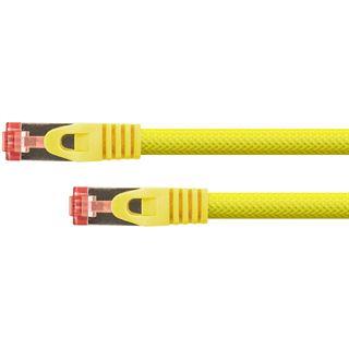 (€15,60*/1m) 0.25m PYTHON Cat. 6 Patchkabel S/FTP PiMF RJ45 Stecker auf RJ45 Stecker Gelb Nylongeflecht / PVC / Rastnasenschutz