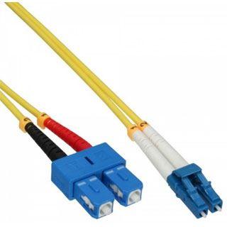 (€8,90*/1m) 1.00m InLine LWL Duplex LWL Anschlusskabel 9/125 µm OS2 LC Stecker auf SC Stecker Gelb LSZH