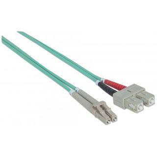 (€1,98*/1m) 5.00m Intellinet LWL Duplex Anschlusskabel 50/125 µm OM3 LC Stecker auf SC Stecker Aqua LSOH / Multimode