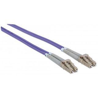 (€8,90*/1m) 1.00m Intellinet LWL Duplex Anschlusskabel 50/125 µm OM4 LC Stecker auf LC Stecker Violett LSOH / Multimode