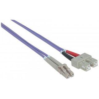 (€3,63*/1m) 3.00m Intellinet LWL Duplex Anschlusskabel 50/125 µm OM4 LC Stecker auf LC Stecker Violett LSOH / Multimode