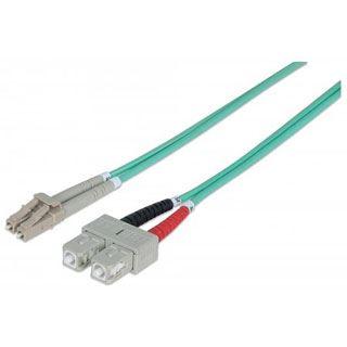 (€0,90*/1m) 20.00m Intellinet LWL Duplex Anschlusskabel 50/125 µm OM3 LC Stecker auf SC Stecker Aqua LSOH / Multimode