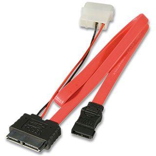 """(€17,80*/1m) 0.50m Lindy SATA Anschlusskabel mit Stromversorgung SATA Stecker + 5,25"""" Molex Strom Stecker auf SATA Slimline Stecker Rot/Schwarz Slim"""
