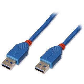 (€6,30*/1m) 3.00m Lindy USB3.0 Anschlusskabel Super-Speed USB A Stecker auf USB A Stecker Blau doppelt geschirmt / Knickschutzelement