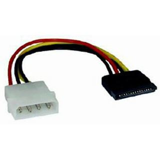 0.10m Mcab SATA Stromadapterkabel intern 4pol Stecker auf 15pol Stecker Schwarz/Rot/Gelb