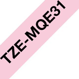 Brother TZE-MQE31 Laminiertes Tape 12mm pink/schwarz