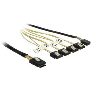 1.00m Delock SAS Anschlusskabel Reverse Breakout 4xSATA Stecker auf SFF-8087 Stecker + 1x 8-Pin Sideband Schwarz