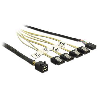 (€49,90*/1m) 1.00m Delock SAS Anschlusskabel Reverse Breakout 4xSATA Stecker auf SFF-8643 Stecker + 1x 8-Pin Sideband Schwarz