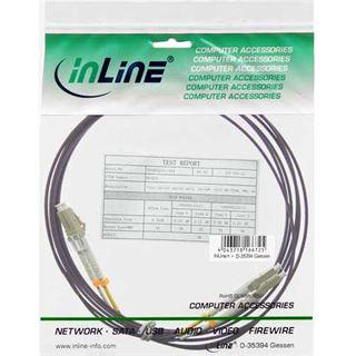 (€1,68*/1m) 50.00m InLine LWL Duplex Anschlusskabel 50/125 µm OM4 2x LC Stecker auf 2x LC Stecker Violett LSZH / Glasfaser