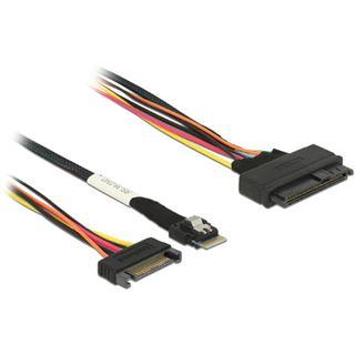 (€109,80*/1m) 0.50m Delock SAS Anschlusskabel Slim SFF-8654 4i Stecker auf SFF-8639 Stecker + Strom Bunt