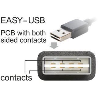 (€3,45*/1m) 2.00m Delock USB2.0 Anschlusskabel Easy USB A Stecker auf USB Micro-B Stecker Schwarz beidseitig steckbar / gewinkelt links / gewinkelt rechts