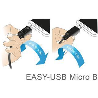 3.00m Delock USB2.0 Anschlusskabel Easy USB A Stecker auf USB Micro-B Stecker Schwarz beidseitig steckbar / gewinkelt links / gewinkelt rechts