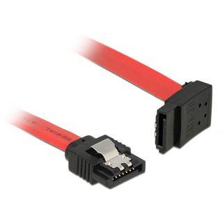 (€7,80*/1m) 0.50m Delock SATA Anschlusskabel gewinkelt oben SATA Stecker auf SATA Stecker gewinkelt Rot mit Arretierung
