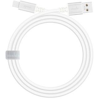 (€28,90*/1m) 1.00m Moshi USB3.1 Anschlusskabel High-Speed USB A Stecker auf USB C Stecker Weiß Alugehäuse / mit Klettverschluß