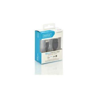 (€24,50*/1m) 0.20m Digitus USB2.0 Adapterkabel OTG USB mikroB Stecker auf USB A Buchse schwarz doppelt geschirmt / vernickelt
