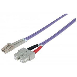 (€8,90*/1m) 1.00m Intellinet LWL Duplex Anschlusskabel 50/125 µm OM4 LC Stecker auf SC Stecker Violett LSOH / Multimode