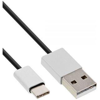(€3,95*/1m) 2.00m InLine USB2.0 Anschlusskabel High-Speed USB A Stecker auf USB C Stecker Schwarz flexibel