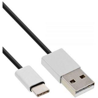 (€2,63*/1m) 3.00m InLine USB2.0 Anschlusskabel High-Speed USB A Stecker auf USB C Stecker Schwarz flexibel